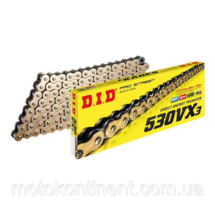 Мото цепь  DID530VX3 110 звеньев G&B черно - золотая  для мотоцикла DID 530VX3 G&B - 110ZB
