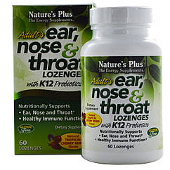 Комплекс ухо, горло, нос Natures Plus с пробиотиком К12 60 таблеток NTP49254, КОД: 1772073