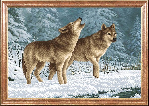 """Рисунок на ткани для вышивания бисером """"Волки на снегу """", фото 2"""