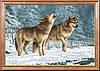 """Рисунок на ткани для вышивания бисером """"Волки на снегу """""""