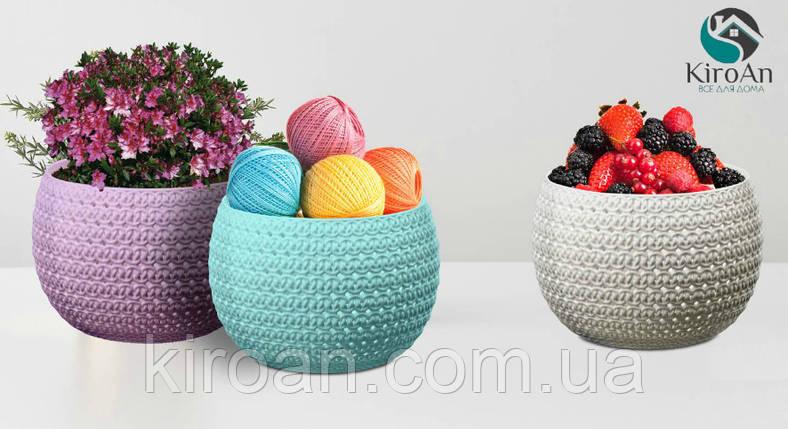 """Голубая корзинка """"Шар"""" (Вязка) для хранения различных мелочей 11 х 15 см Tuppex,Турция, фото 2"""