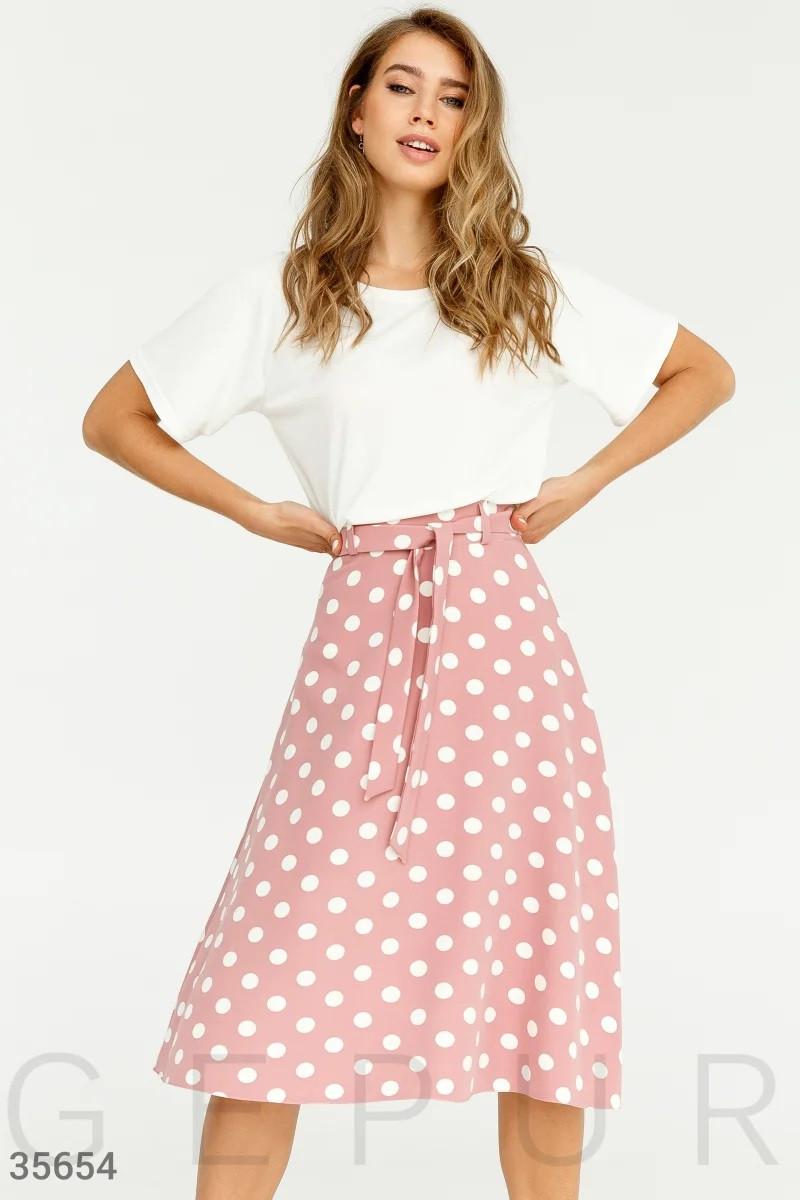 Легкая юбка в крупный белый горошек S M L XL