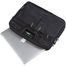 Сумка для ноутбука STAR DRAGON з розширенням 36х26х8 чорна, тканина з покриттям ПВХ кс760, фото 3