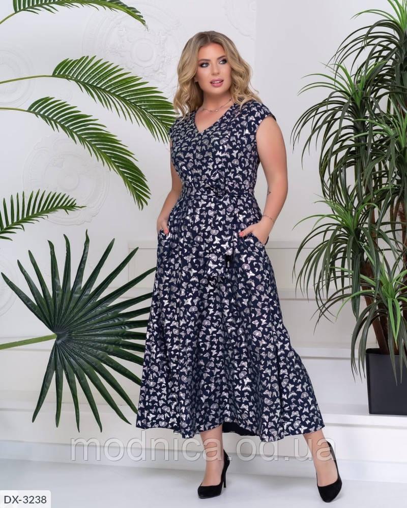 Літнє жіноче довге плаття великого розміру, розміри 52, 54