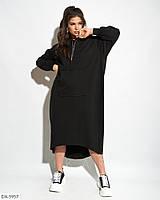 Свободное платье худи большого размера, размеры 54-56, 48-52