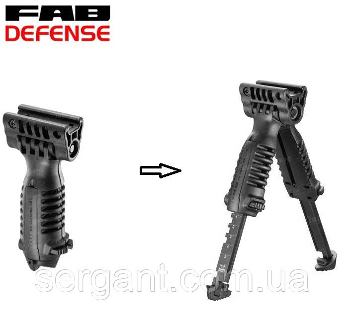 Тактическая передняя рукоятка переноса огня с сошками FAB Defense  T-POD