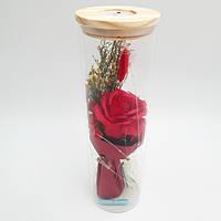Роза в колбе с LED подсветкой UKC подарок ночник 25 см Красный hubkBgX11285, КОД: 1721654