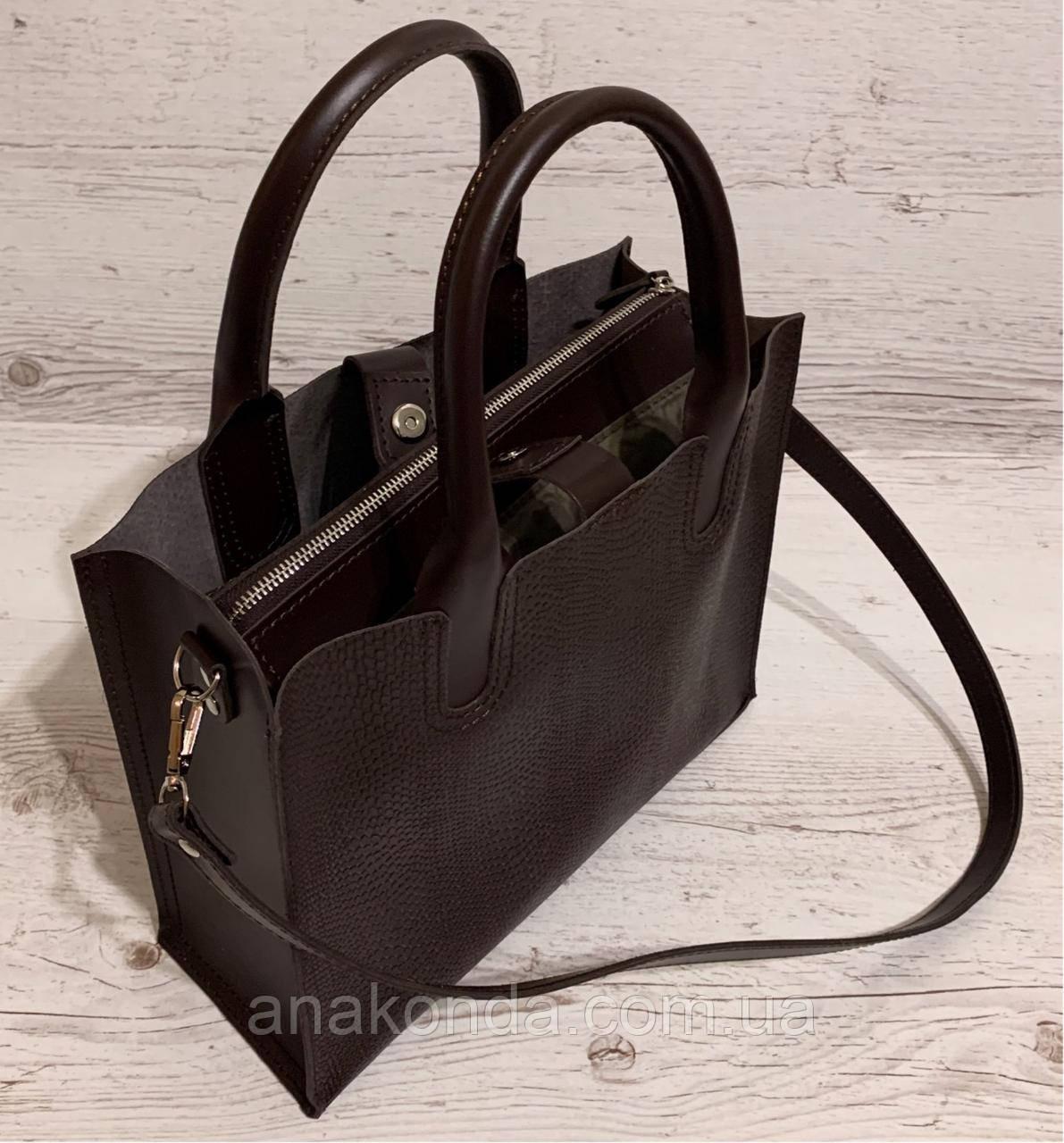 75-2 Натуральная кожа Сумка женская шоколад темная коричневая кожаная сумка А4 женская коричневая офисная