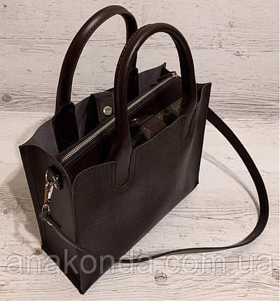 75-2 Натуральная кожа Сумка женская шоколад темная коричневая кожаная сумка А4 женская коричневая офисная, фото 2