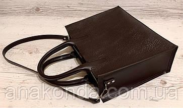 75-2 Натуральная кожа Сумка женская шоколад темная коричневая кожаная сумка А4 женская коричневая офисная, фото 3