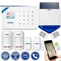 Комплект беспроводной GSM сигнализации Kerui W18 WI-FI + сирена солнечной батарее (DJFJFGY7F8FJJFKLM)