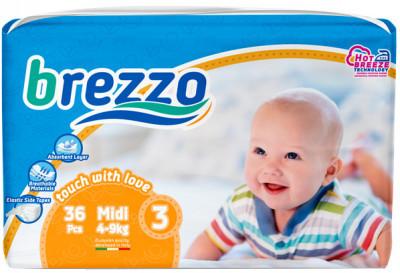Підгузки дитячі преміум класа Brezzo midi 3 (4-8 кг) 36 шт.