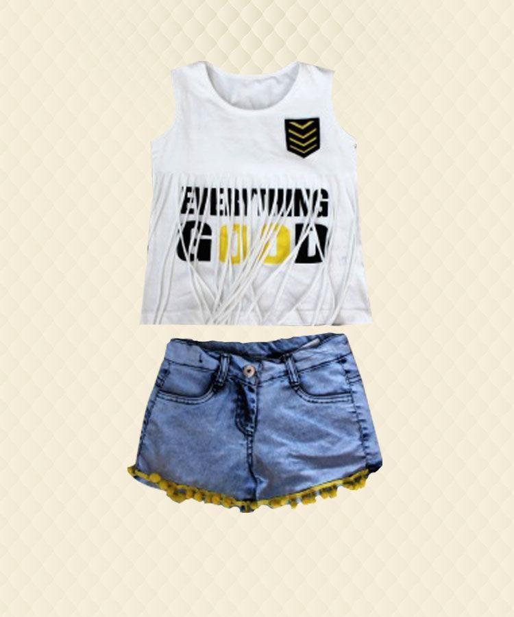 Костюм для девочки Good футболка с бахромой + шорты джинсовые