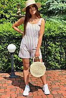 Комбинезон женский летний с шортами на регулируемых лямках  LUREX - бежевый цвет, M (есть размеры)