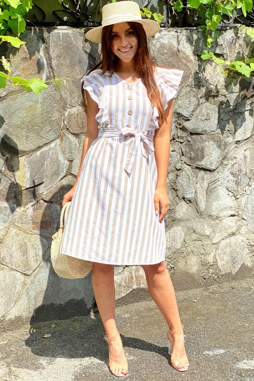 Платье миди с рюшами на плечах  LUREX - бежевый цвет, L (есть размеры)