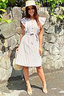 Платье миди с рюшами на плечах  LUREX - бежевый цвет, L (есть размеры), фото 1