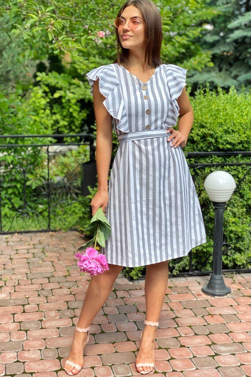 Сукня міді з рюшами на плечах LUREX - сірий колір, M (є розміри)