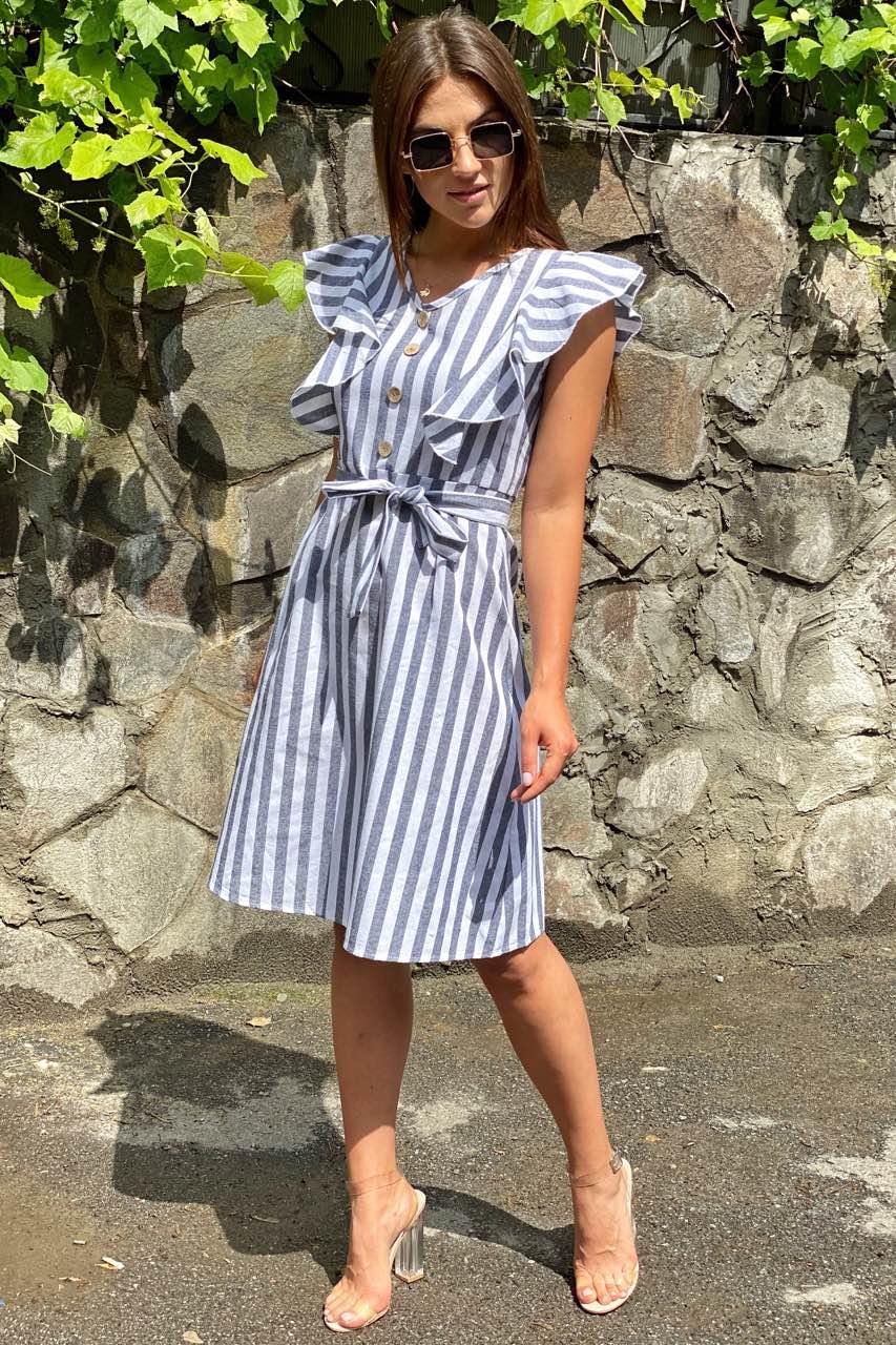 Сукня міді з рюшами на плечах LUREX - чорний колір, L (є розміри)