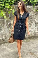 Платье-сарафан летнее на пуговицах  LUREX - черный цвет, L (есть размеры), фото 1