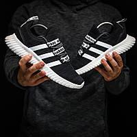 Кроссовки летние  мужские Adidas  в стиле Адидас , текстиль, код DK-1347. Черные с белым