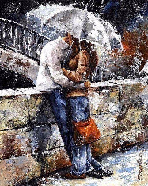 DM-133 Набір алмазної живопису Закохані під дощем