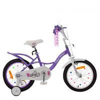 Велосипед детский PROF1 16д. SY16193 (1шт) Angel Wings,сиреневый,свет,звонок,зерк.,доп.колеса, фото 1