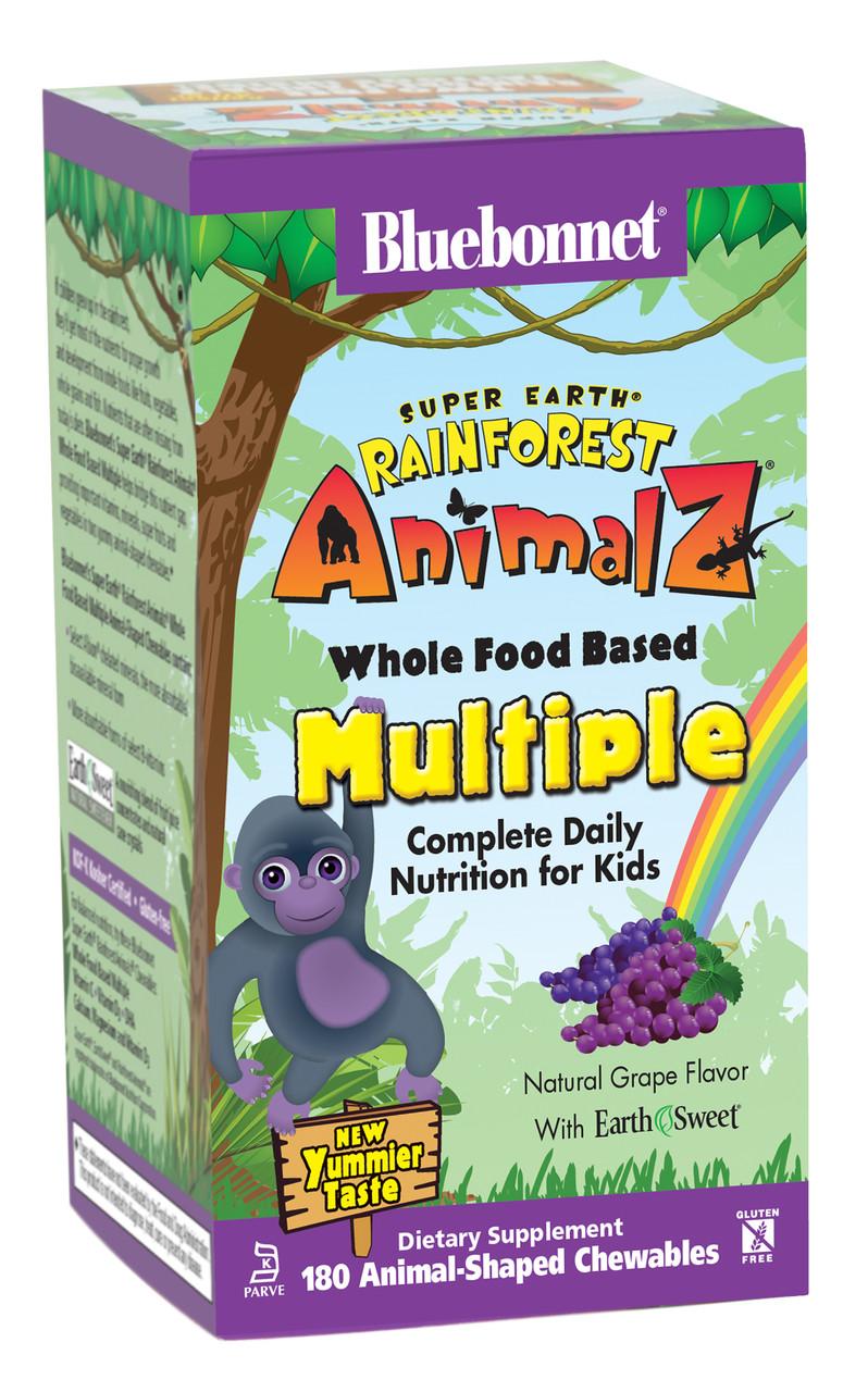 Мультивитамины для Детей, Виноград, Rainforest Animalz, Bluebonnet Nutrition, 180 жевательных конфет