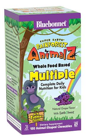 Мультивитамины для Детей, Виноград, Rainforest Animalz, Bluebonnet Nutrition, 180 жевательных конфет, фото 2