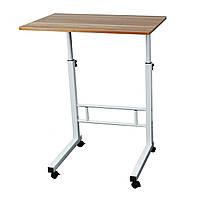 🔝 Журнальный столик на колесиках с регулировкой высоты (40х60 см) коричневый (для ноутбука) | 🎁%🚚