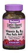 Витамин В6, B12 + Фолиевая кислота, Вкус Малины, Earth Sweet Chewables, Bluebonnet Nutrition, 60 жевательных