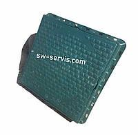 Люк пластиковый квадратный зеленый с замком 1000 кг.