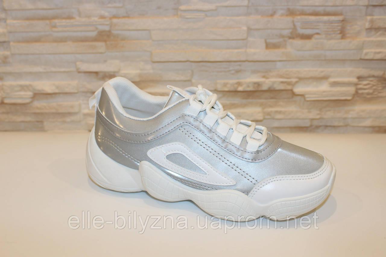 Кроссовки серые с белыми вставками код Т274 39