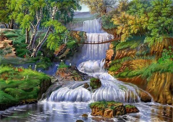 DM-338 Набор алмазной мозаики Мост через водопад, фото 2