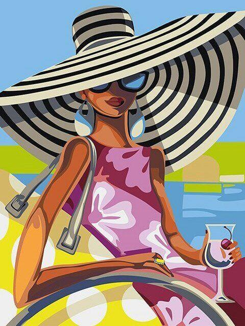 DM-343 Набор алмазной мозаики Девушка с коктейлем