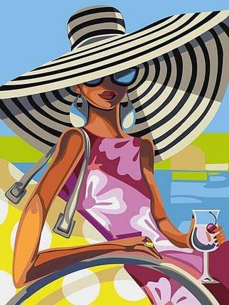 DM-343 Набор алмазной мозаики Девушка с коктейлем, фото 2