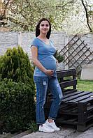 8305 Кофта с V вырезом для беременных голубая, фото 1