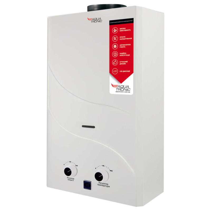 Колонка димохідна газова Aquatronic JSD20-A08 10 л біла