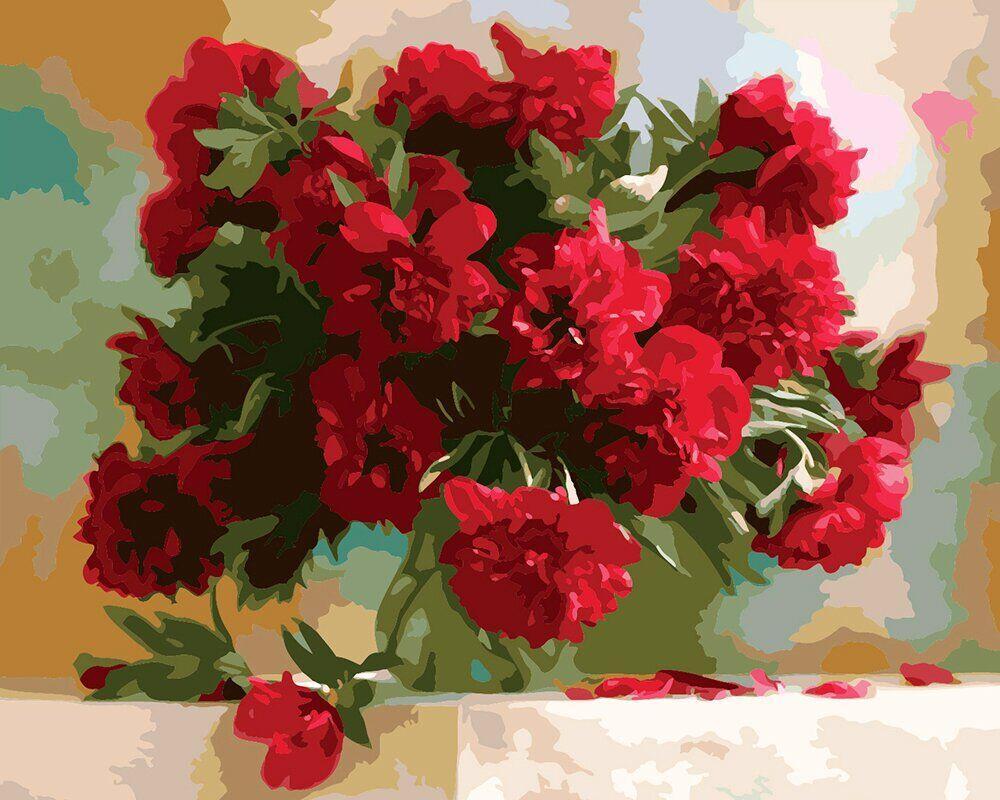КНО1133 Раскраска по номерам Красные пионы, Без коробки