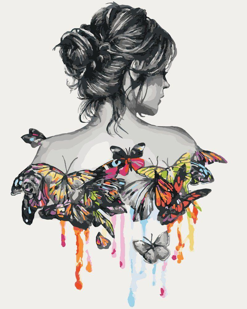 КНО2688 Раскраска по номерам Нежность бабочки, Без коробки