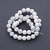 Бусины натуральный камень Кахолонг на нитке шарик, диаметр 8мм, длина 38см