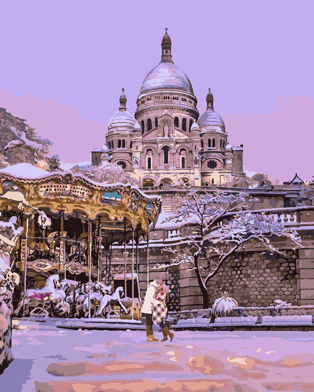 KH4533 Раскраска по номерам Поцелуй в заснеженном Париже, Без коробки
