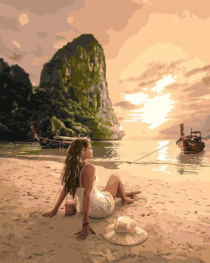 KH4592 Картина-раскраска Влюбленная в море, Без коробки