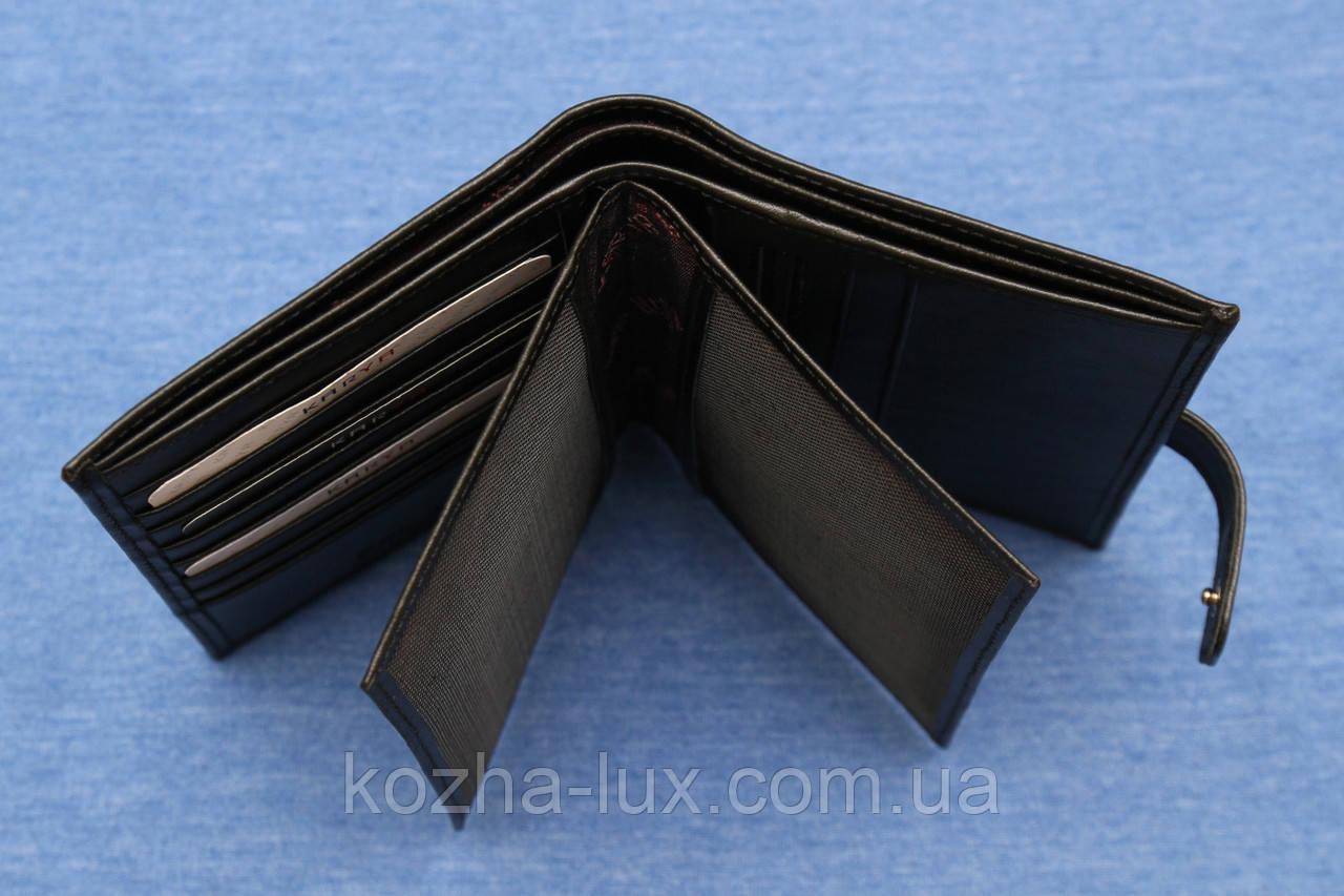 Портмоне мужское кожаное чёрное вертикальное Karya 0405/1, натуральная кожа