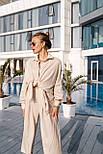 Льняний літній костюм з вільною сорочкою і кюлотами vN8682, фото 2