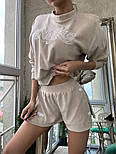 Женский летний велюровый костюм с шортами и свитшотом vN8704, фото 5