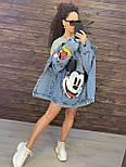 Жіноча джинсова куртка оверсайз з малюнком Міккі на спині vN8713, фото 2