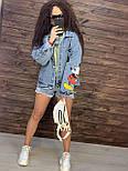 Жіноча джинсова куртка оверсайз з малюнком Міккі на спині vN8713, фото 4