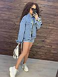 Жіноча джинсова куртка оверсайз з малюнком Міккі на спині vN8713, фото 5