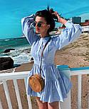 Льняное летнее платье с пышной юбкой и длинным рукавом - фонариком vN8737, фото 2