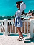 Льняное летнее платье с пышной юбкой и длинным рукавом - фонариком vN8737, фото 3